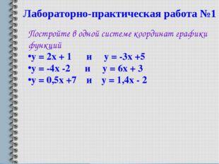 Лабораторно-практическая работа №1 Постройте в одной системе координат график