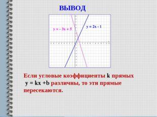 у = - 3х + 5 у = 2х - 1 ВЫВОД Если угловые коэффициенты k прямых у = kx +b ра