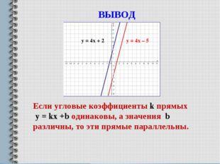 ВЫВОД у = 4х + 2 у = 4х – 5 Если угловые коэффициенты k прямых у = kx +b один