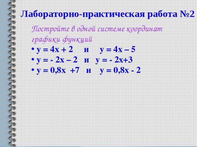 Лабораторно-практическая работа №2 Постройте в одной системе координат график...
