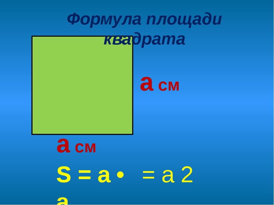 а см а см S = a • a Формула площади квадрата = а 2