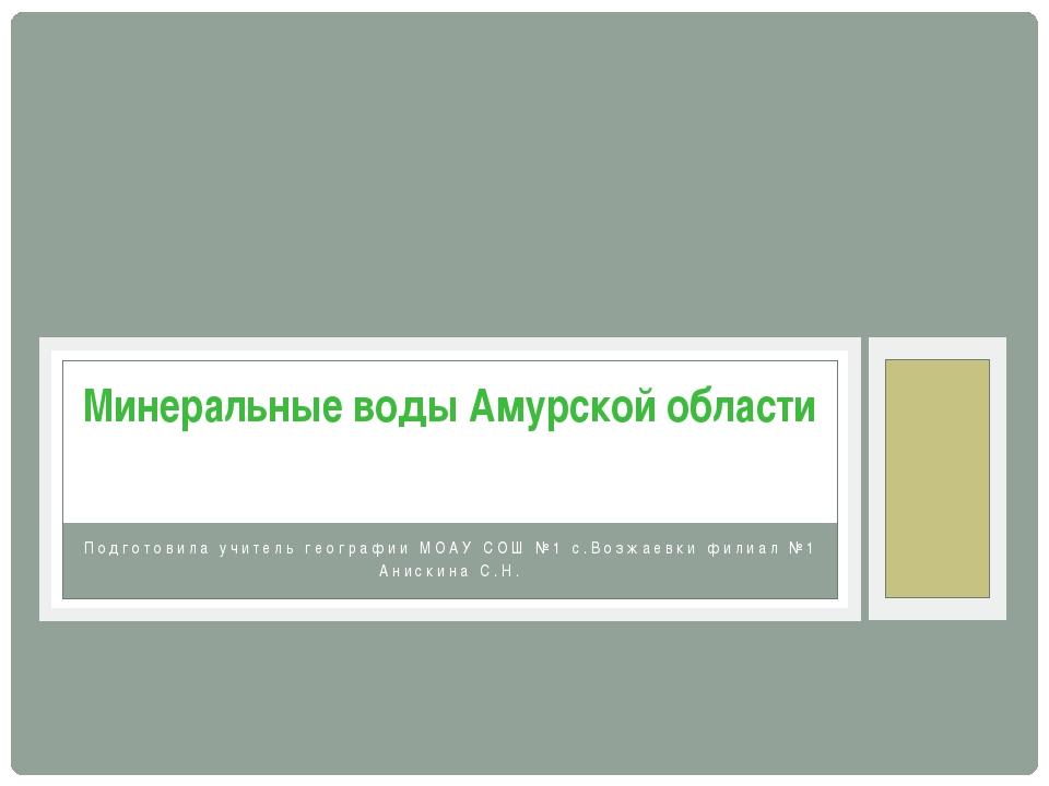 Подготовила учитель географии МОАУ СОШ №1 с.Возжаевки филиал №1 Анискина С.Н....