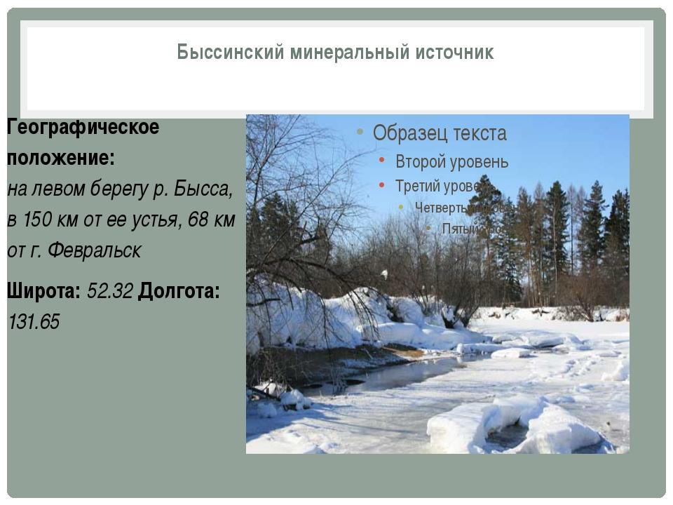 Быссинский минеральный источник Географическое положение: на левом берегу р....