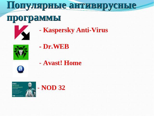 Популярные антивирусные программы - Kaspersky Anti-Virus - Dr.WEB - Avast! Ho...