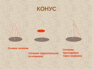 КОНУС Осевое сечение Сечение параллельное основанию Сечение, проходящее через