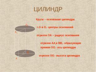 ЦИЛИНДР Круги – основания цилиндра т.О и О1- центры оснований отрезок ОА – ра
