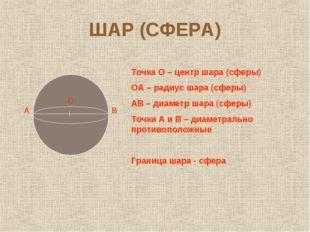 ШАР (СФЕРА) А О В Точка О – центр шара (сферы) ОА – радиус шара (сферы) АВ –
