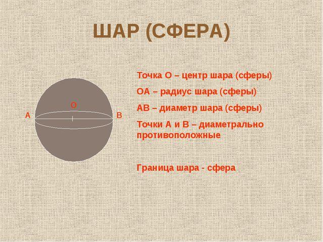ШАР (СФЕРА) А О В Точка О – центр шара (сферы) ОА – радиус шара (сферы) АВ –...
