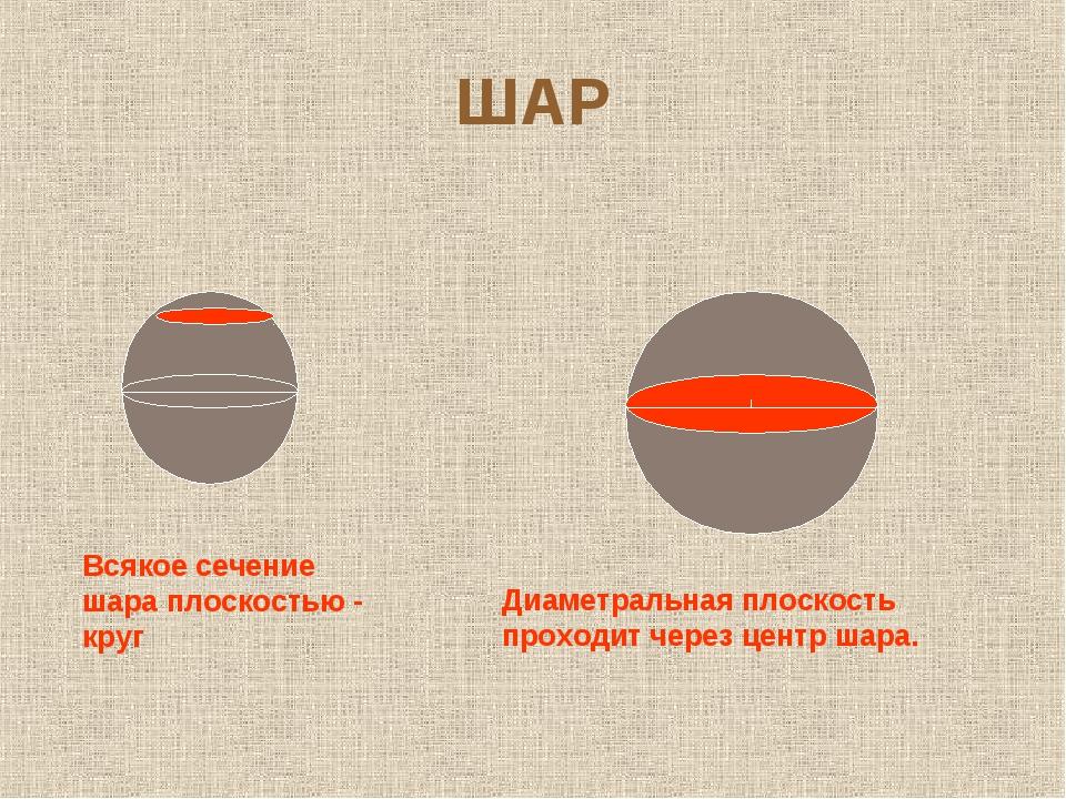 ШАР Всякое сечение шара плоскостью - круг Диаметральная плоскость проходит че...