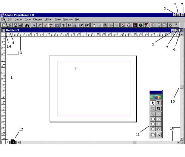 Элементы экрана при работе с публикацией: 1- монтажный стол; 2 - страница публикации; 3 - строка заголовка; 4 - кнопка системного меню; 5 - кнопка сворачивания окна; 6 - кнопка закрытия окна публикации; 7 - кнопка закрытия окна программы; 8 - кнопка разворачивания окна; 9 - кнопка восстановления размеров окна; 10 - полосы прогона; 11 - инструментарий; 12 - указатель страницы; 13 - измерительные линейки; 14 - значок начала координат; 15 – бегунок; 16 – панель кнопок (версия 7)