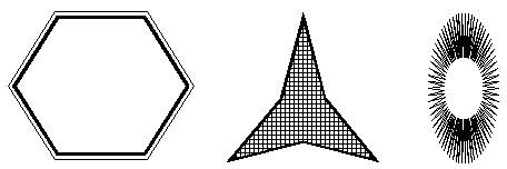 Виды многоугольников и их параметры: а - число внешних вершин - 6, глубина - 0; б - число внешних вершин - 3, глубина - 40; в - число внешних вершин - 30, глубина - 70