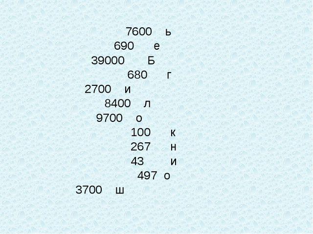 7600 ь 690 е 39000 Б  680 г 2700 и  8400 л  9700 о...