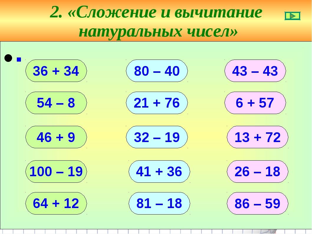2. «Сложение и вычитание натуральных чисел» ∙ 36 + 34 54 – 8 46 + 9 100 – 19...