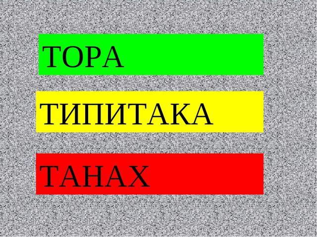 ТОРА ТИПИТАКА ТАНАХ