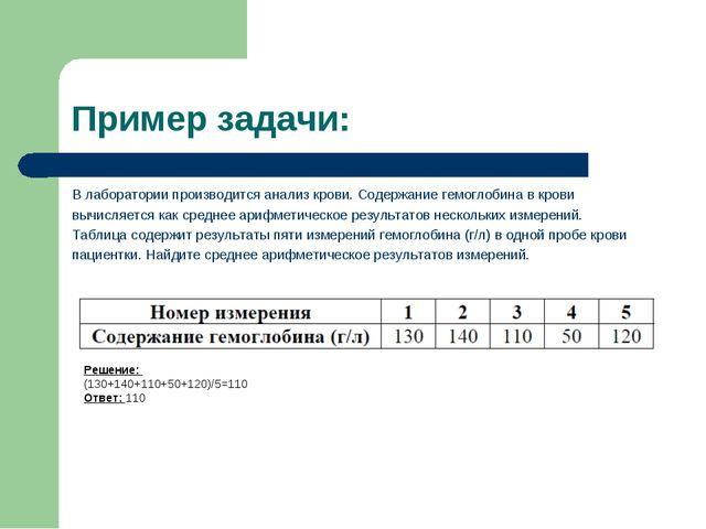 Пример задачи: В лаборатории производится анализ крови. Содержание гемоглобин...