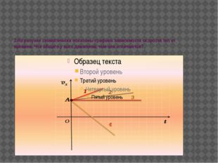 2.На рисунке схематически показаны графики зависимости скорости тел от времен