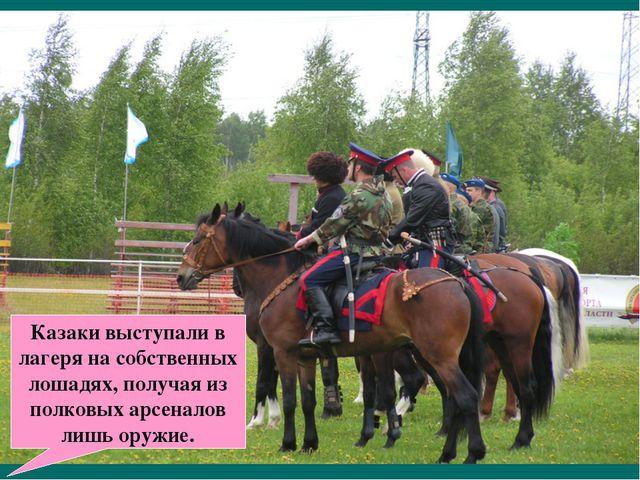 Казаки выступали в лагеря на собственных лошадях, получая из полковых арсенал...