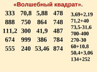 3,69+2,19 71,2+40 73,5-31,6 700-400 270-30 60+10,8 50,4+3,06 134+252 «Волшебн
