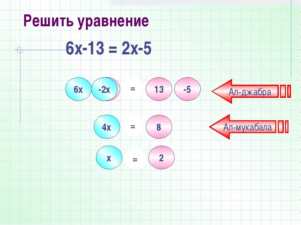 6х -13 2х -5 = 13 -2х 4х = 8 2 = х Ал-джабра Ал-мукабала Решить уравнение 6х-...