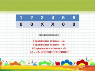 Критерии оценивания  6 правильных ответов – «5» 5 правильных ответов – «4