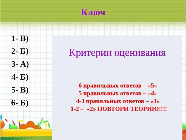 Ключ 1- В) 2- Б) 3- А) 4- Б) 5- В) 6- Б)  Критерии оценивания 6 правильных о...