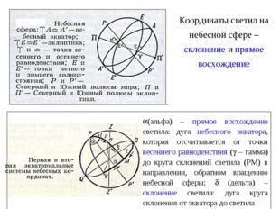 (альфа) – прямое восхождение светила: дуга небесного экватора, которая отсчит