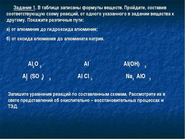Задание 1. В таблице записаны формулы веществ. Пройдите, составив соответств...