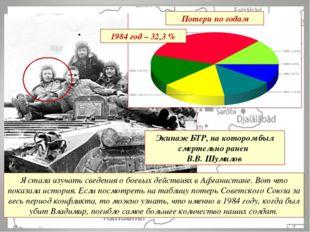 Потери по годам 1984 год – 32,3 % Я стала изучать сведения о боевых действиях