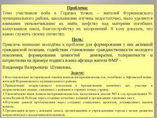 Проблема: Тема участников войн в Горячих точках – жителей Фурмановского муниц