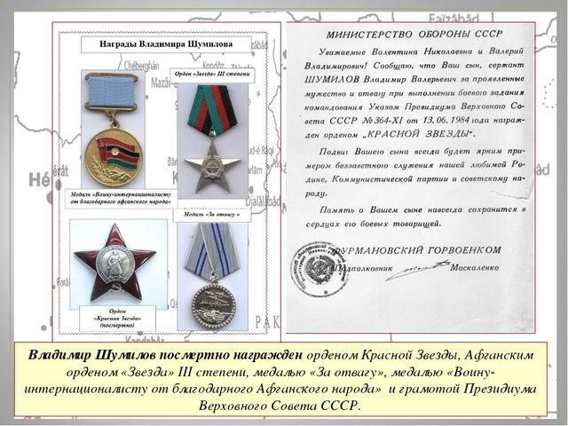 Владимир Шумилов посмертно награжден орденом Красной Звезды, Афганским ордено...