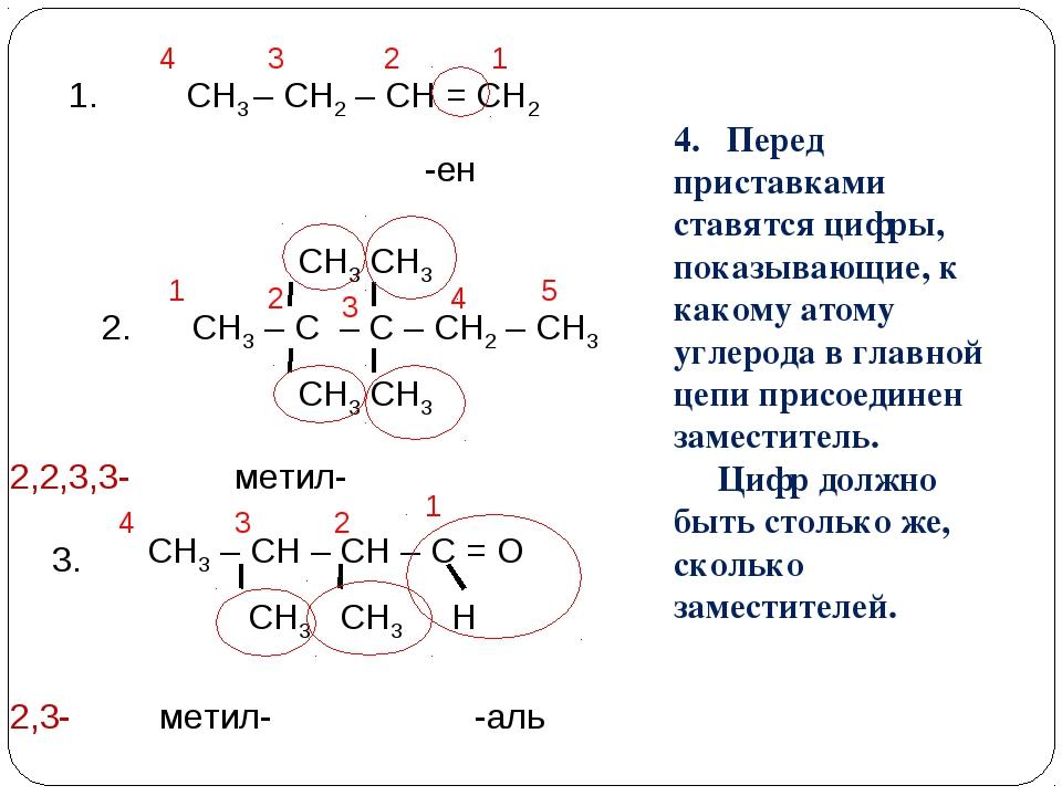 СН3 – СН2 – СН = СН2 1. СН3 – С – С – СН2 – СН3 -ен метил- метил- -аль 4. Пер...