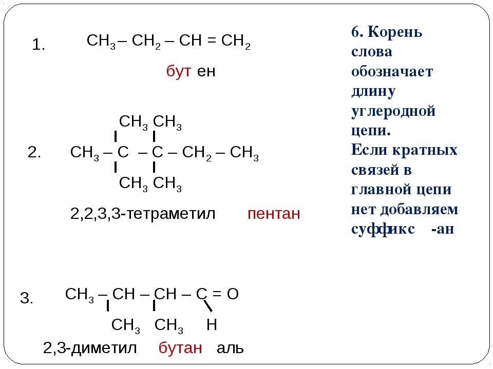 СН3 – СН2 – СН = СН2 1. 3. СН3 – СН – СН – С = О СН3 СН3 Н ен 6. Корень слова...