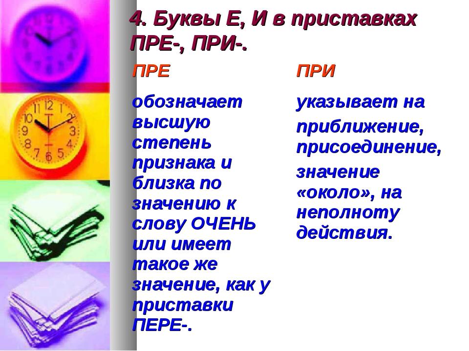 4. Буквы Е, И в приставках ПРЕ-, ПРИ-.