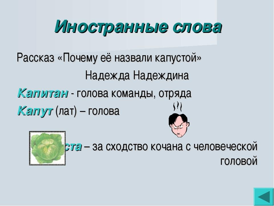 Иностранные слова Рассказ «Почему её назвали капустой» Надежда Надеждина Капи...