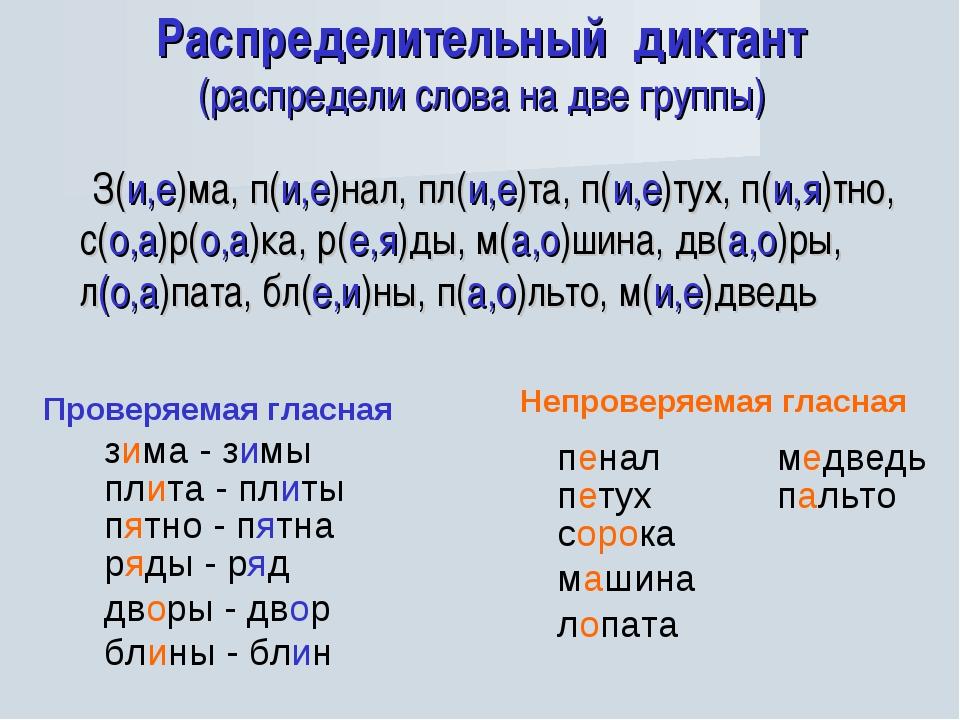 Распределительный диктант (распредели слова на две группы) З(и,е)ма, п(и,е)на...