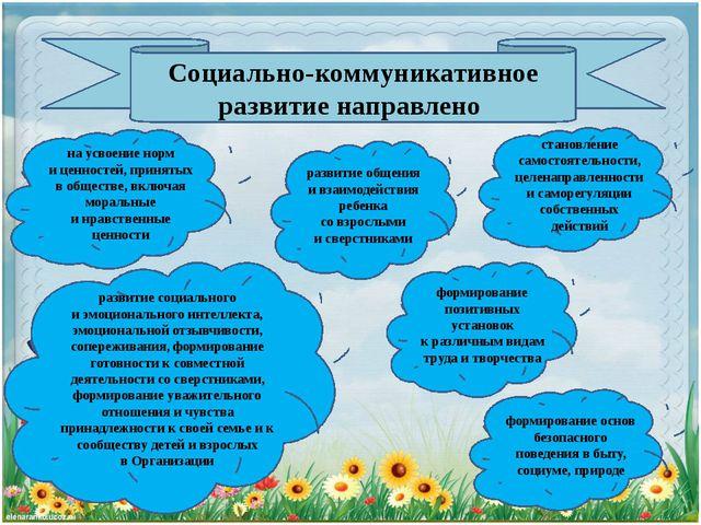 Социально-коммуникативное развитиенаправлено наусвоение норм иценностей, п...