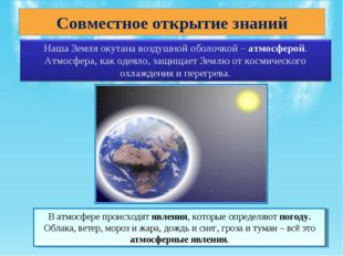 Совместное открытие знаний В атмосфере происходят явления, которые определяют