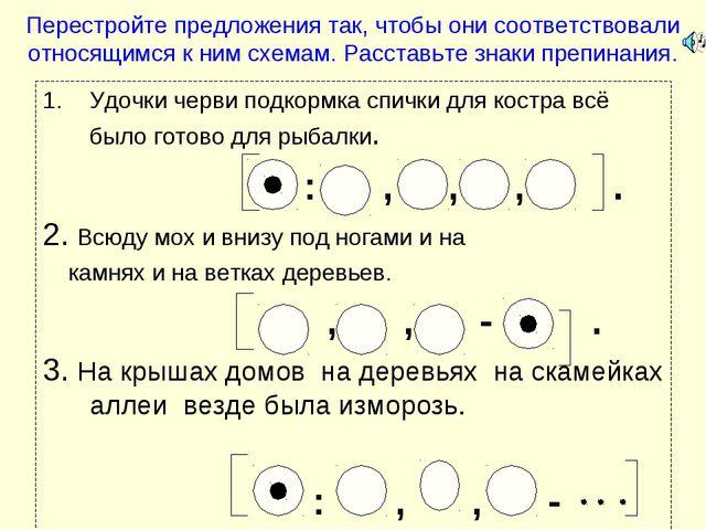 Перестройте предложения так, чтобы они соответствовали относящимся к ним схем...