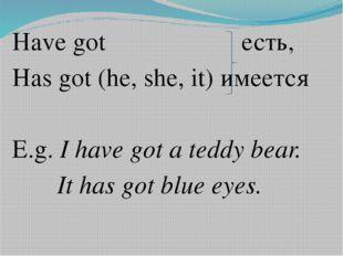 Have got есть, Has got (he, she, it) имеется E.g. I have got a teddy bear. I