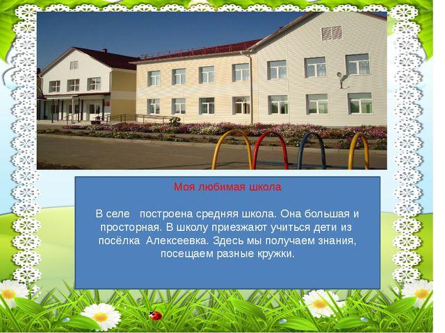 Моя любимая школа В селе построена средняя школа. Она большая и просторная....