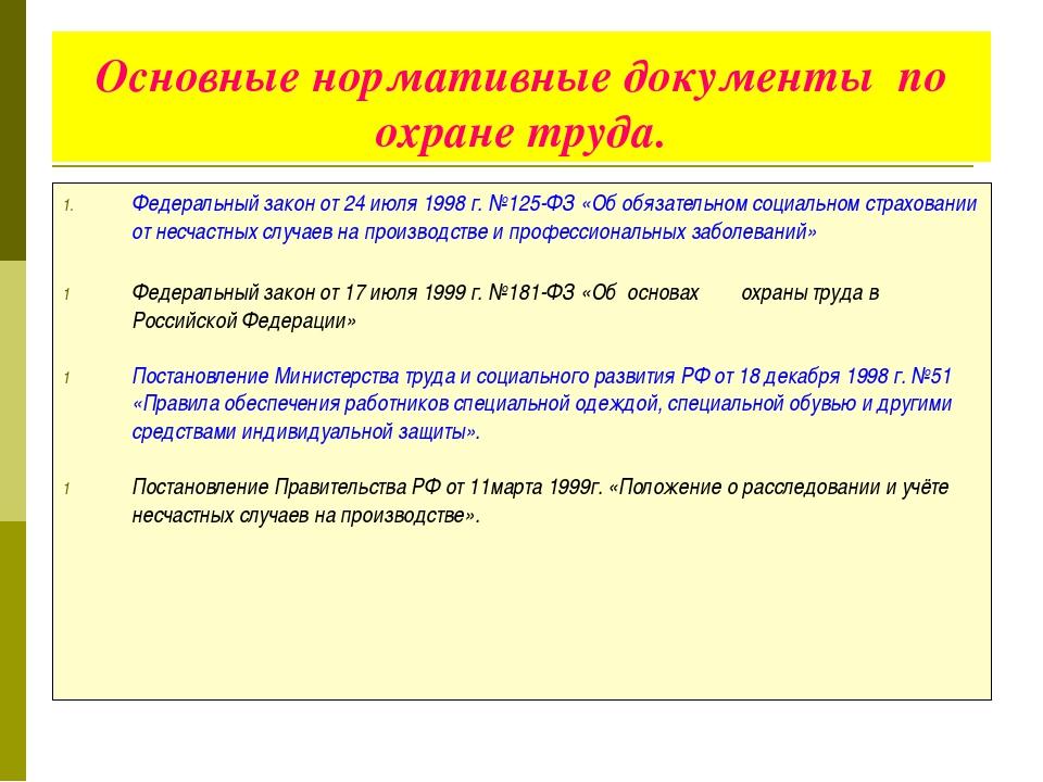 Основные нормативные документы по охране труда. Федеральный закон от 24 июля...