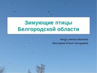 Зимующие птицы Белгородской области Автор: учитель биологии Заколодняя Елена