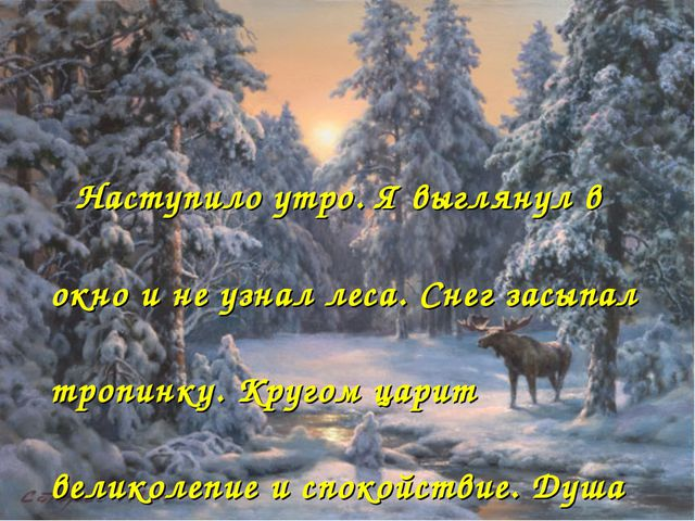 Наступило утро. Я выглянул в окно и не узнал леса. Снег засыпал тропинку. Кр...