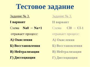Тестовое задание Задание № 3. I вариант Схема Na0 → Na+1 отражает процесс: А)