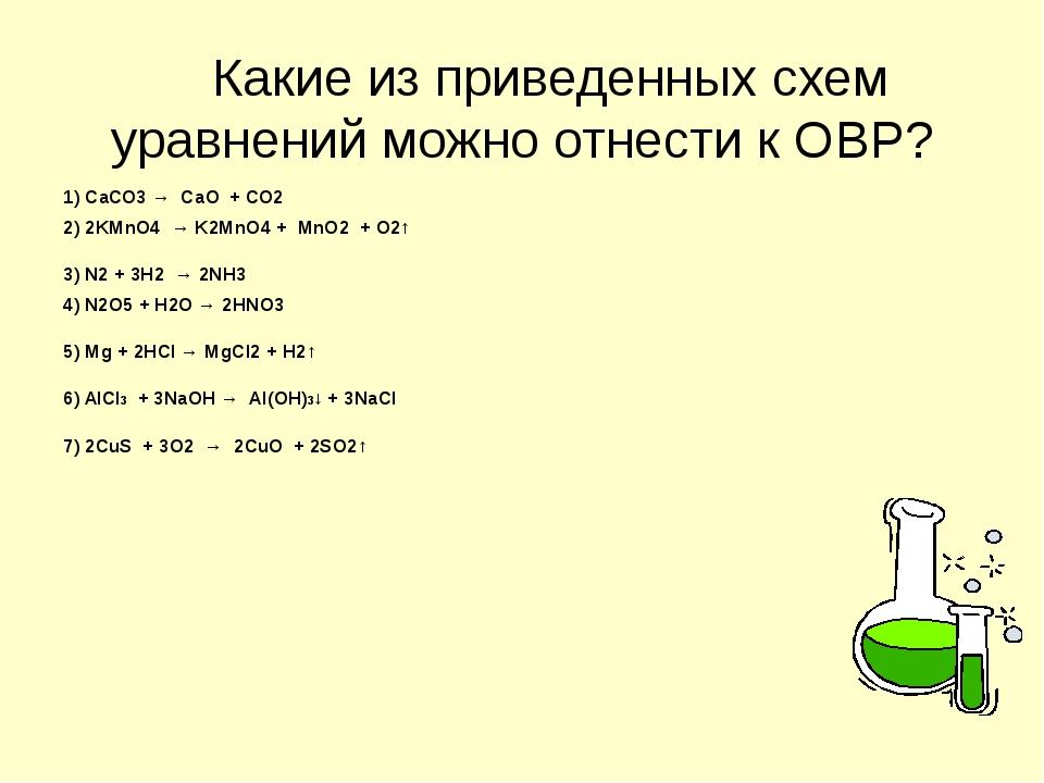 Какие из приведенных схем уравнений можно отнести к ОВР? 1) СаСО3 → СаО + СО...