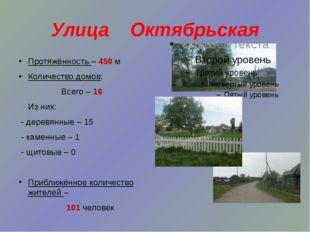 Улица Октябрьская Протяжённость – 450 м Количество домов: Всего – 16 Из них: