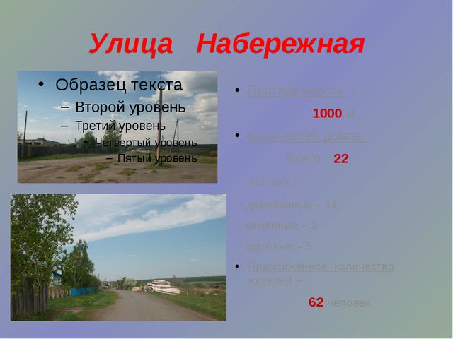 Улица Набережная Протяжённость - 1000 м Количество домов: Всего - 22 Из них:...