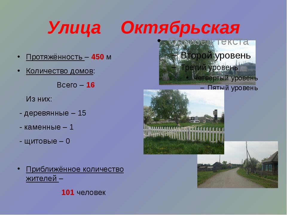 Улица Октябрьская Протяжённость – 450 м Количество домов: Всего – 16 Из них:...