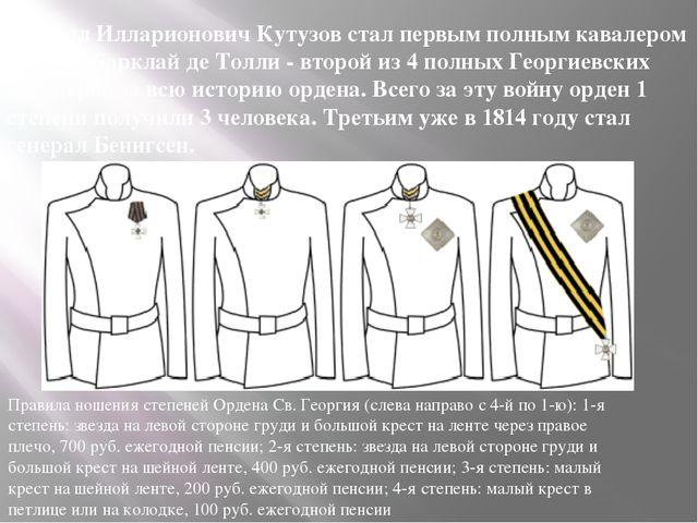Михаил Илларионович Кутузов стал первым полным кавалером ордена. Барклай де Т...