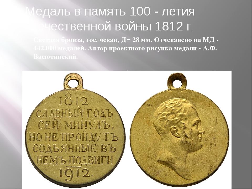 Светлая бронза, гос. чекан, Д= 28 мм. Отчеканено на МД - 442.000 медалей. Авт...